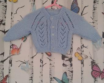 Baby Boy Cardigan, Blue Cardigan, Hand Knitted, Handmade