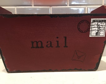 Vintage mail bin, up cycled  from plain box.