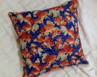 Goldfish Pillow - Blue/Red