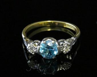 Antique Edwardian Blue Zircon Diamond Trilogy Ring 18ct Gold Platinum