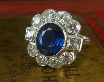 1.80ct Sapphire & 2ct Diamond Ring - 18ct Gold