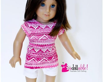 Special Sale American made Girl Doll Clothes, made to fit like American girl doll clothes, Aztec Inspired Knit Top & White Shorts