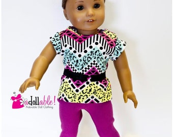American made Girl Doll Clothes, 18 inch Doll Clothing, Graphic Top, Fuchsia Lace Capris made to fit like American girl doll clothes