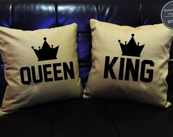 king and queen throw pillows ? Etsy