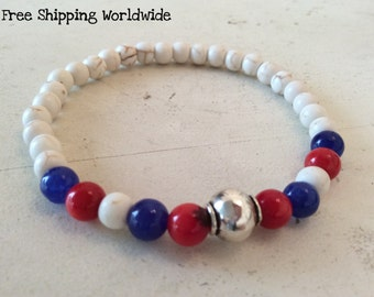 US Flag Jewelry, 4th Of July Bracelet, Patriotic Jewelry, Red white and Blue Bracelet, Patriotic Bracelet, Red White and Blue Beads Bracelet
