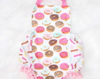 Donut You Love It - Baby Girl Romper - Cake Smash Outfit - Baby Donut Romper - Birthday Outfit - Pom-Pom Romper - Donut Party - Donut Romper
