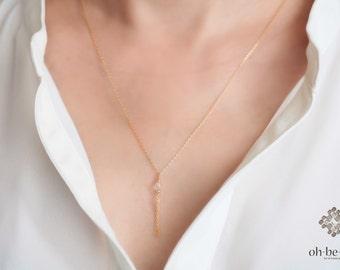 Delicate gold filled Fringe necklace -with Champagne Quartz - 14kt gold filled Y Necklace -  Gemstone Necklace -