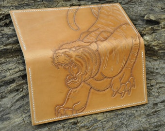 Hand Tooled Leather Checkbook Cover Tiger