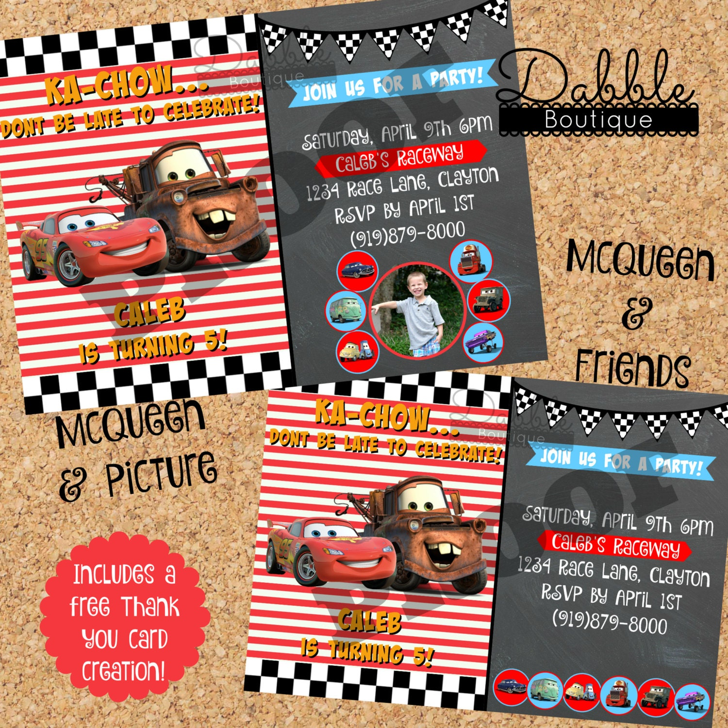 Cars Birthday Invitation Mcqueen Mater Picture Birthday