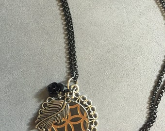 Black and Gold Leaf Necklace