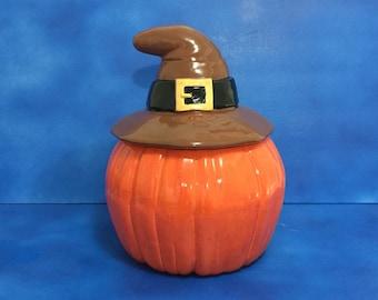 Halloween Thanksgiving Pumpkin Hat Cookie Jar with Pilgrim Buckle