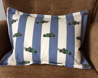 Racing car cushion, blue and white stripes, vintage fabric, green cars, vintage cars
