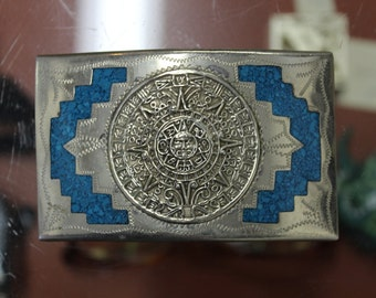 Vintage Silver and Turquoise Belt Buckle