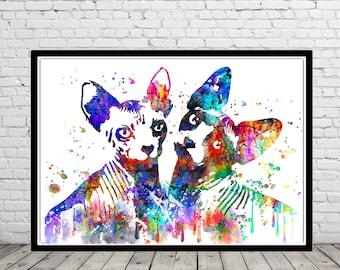 Devon Rex, Sphynx, Sphynx Cat, Cat, cat print, watercolor print, animal painting, cat, animal art, Devon Rex cat (2238b)
