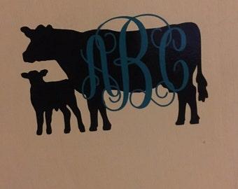 Cow/calf monogram decal