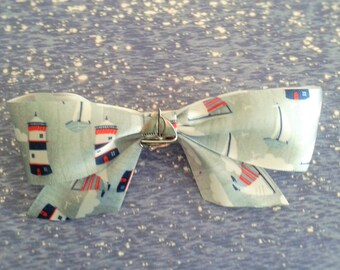 Nautical Hair Bow Barrette Lighthouse and Boat Print
