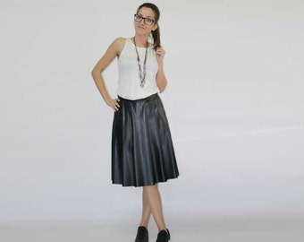 Faux leather skirt, Midi faux leather skirt, Pleated leather skirt, High waist skirt, Pluse size skirt