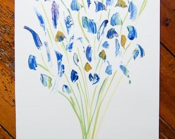 Blue bouquet print