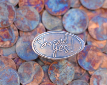 She Said Yes Wedding Favor • Copper • Wedding Collection • Wedding Favor • Pressed Penny