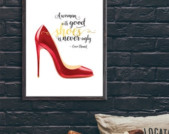 A Woman with Good Shoes - Coco Chanel Quote Foil Print Poster