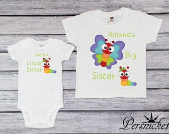 Big Sister Little Sister Butterfly Set  - Customized Personalized Tee Shirt Sibling Set - Bodysuit - Big Sis Lil Sis T-shirt - *1507