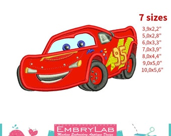 Applique Lightning Mcqueen. The Cars. Machine Embroidery Applique Design. Instant Digital Download (16272)