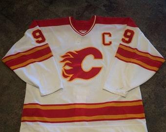 90's Calgary Flames Hockey jersey #9 McDonald