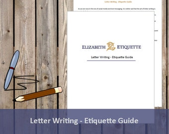 Letter Writing Etiquette Guide - Printable PDF (INSTANT DOWNLOAD)