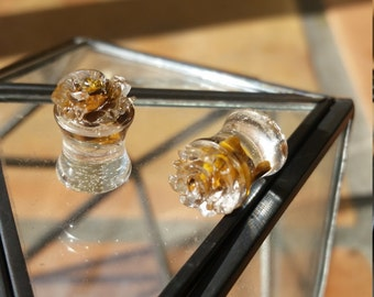 Tiger Eye and Flower Stone Plugs Earrings 8mm 0 Gauge (PAIR)