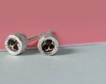 Pine bud earrings silver small fine