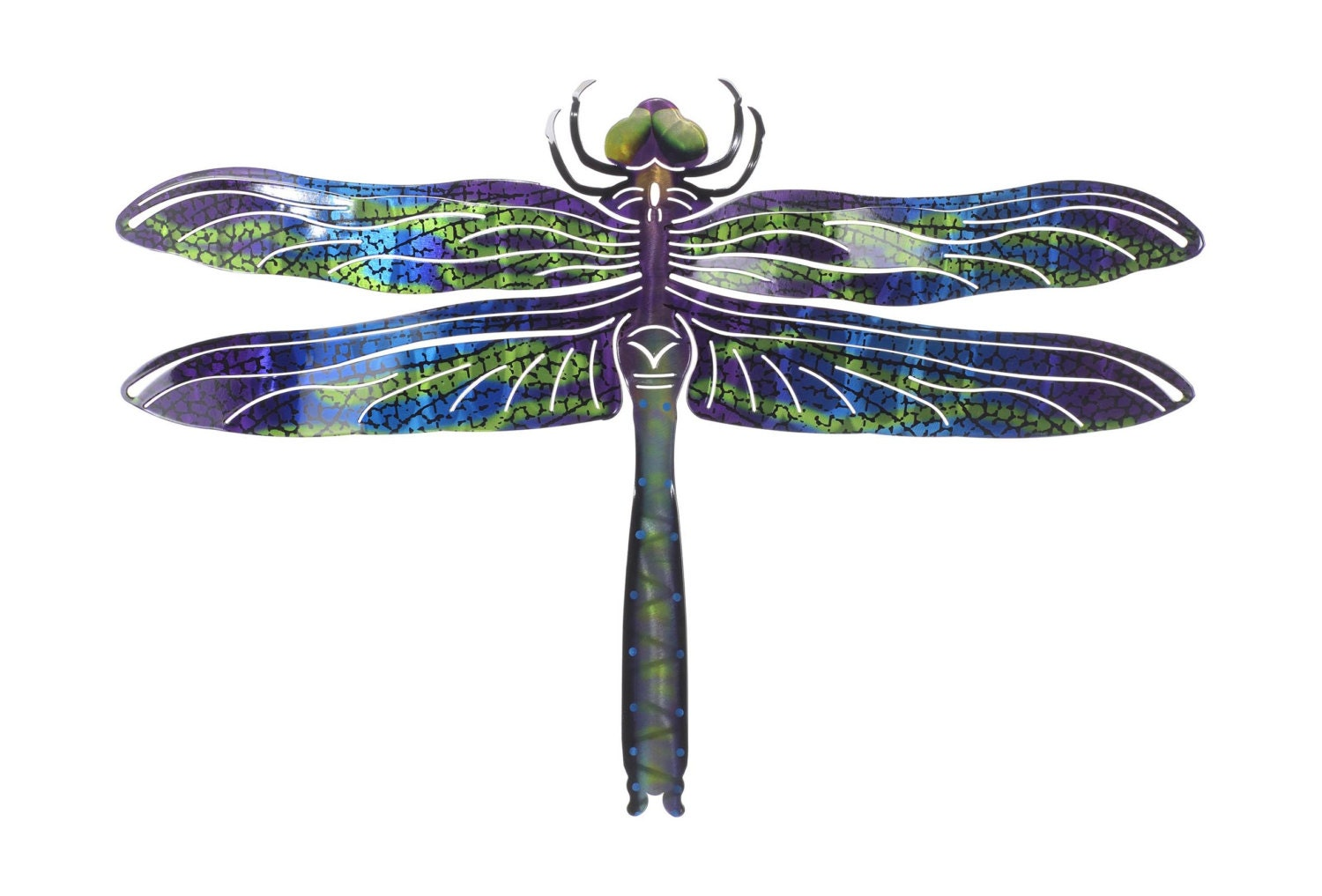 Metal wall art dragonfly wall decor blue for Dragonfly wall art
