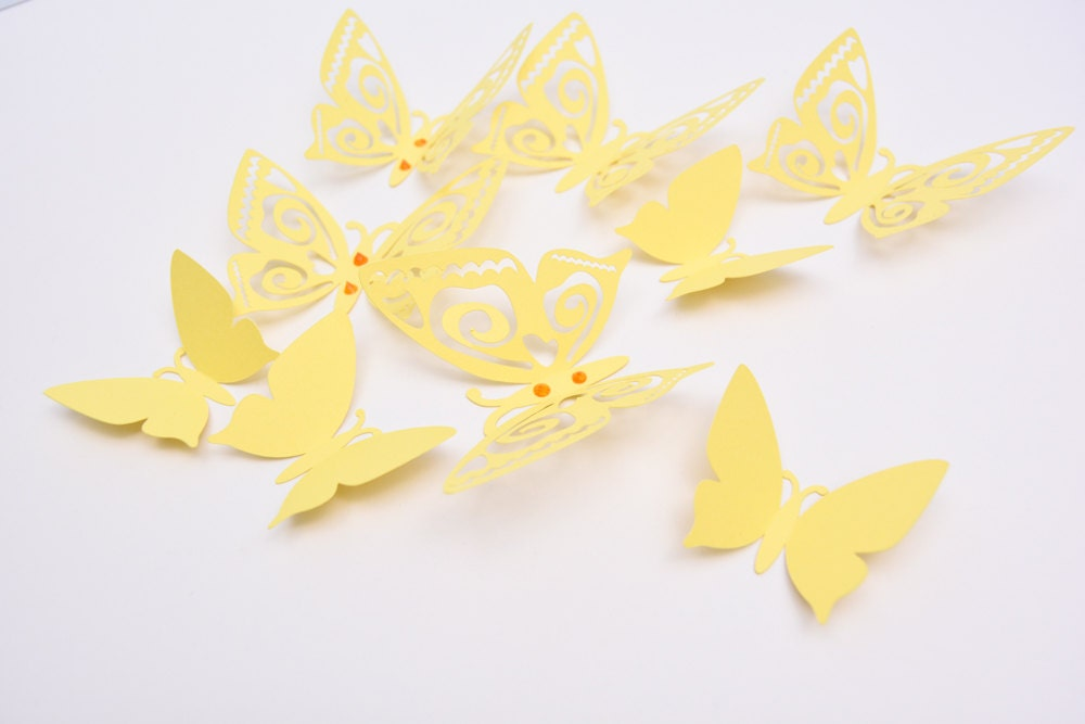 3D Butterfly Wall Decor - Pastel Yellow Paper Butterflies - Wall ...