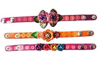 Genuine Leather Bracelet, Flowers Leather Bracelet