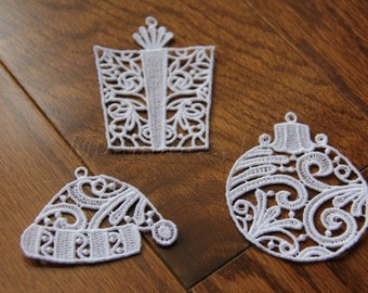 Set of 3 Embroidered Lace Christmas Ornaments