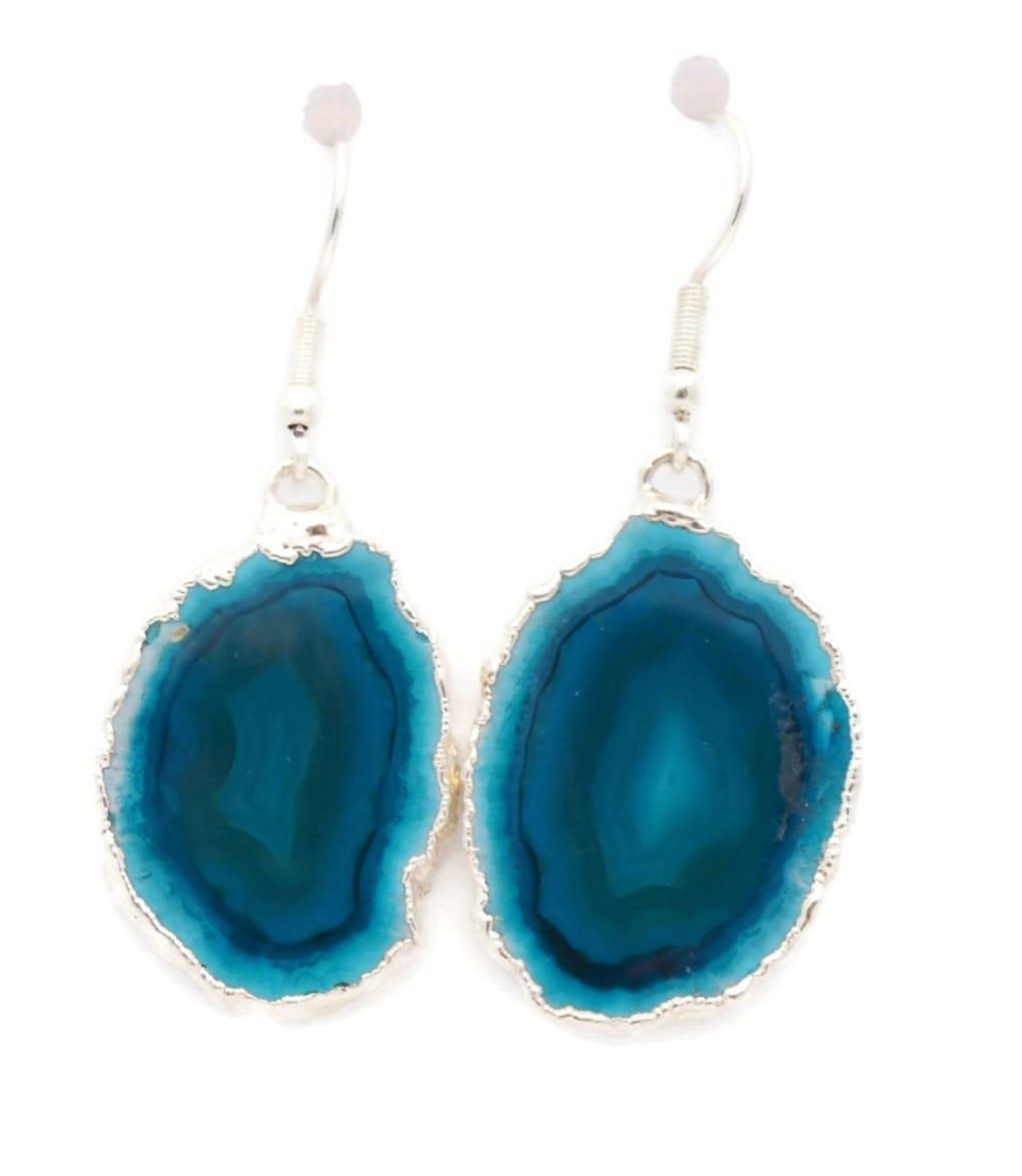 teal blue agate earrings earrings