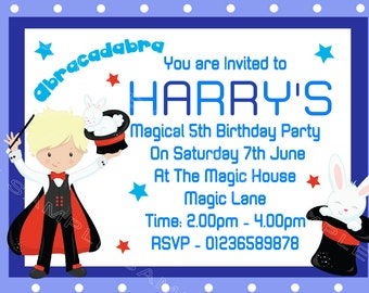 Boys Magician Magic PERSONALISED Birthday Party Invitations x 10