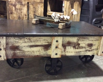 Industrial Chic Coffee Table Cart