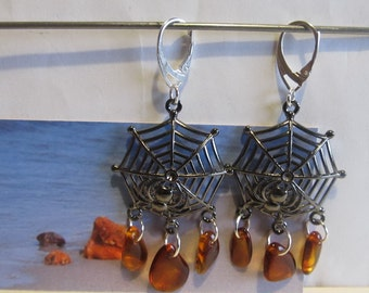 Amber Earrings Web Spider Natural Baltic beads brown transparent Black Web, Silver color french clasp souvenir present Bernstein Ohrringe