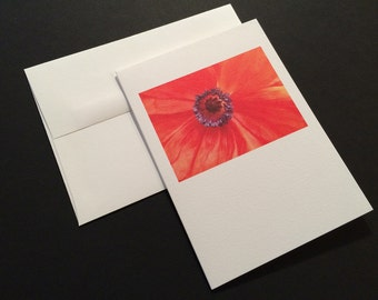 Orange Poppy, Close up. Blank Greeting Card. Note Card. Photo Card.