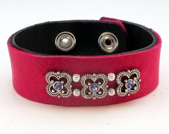 Hot Pink Leather with Crystals Cuff Bracelet