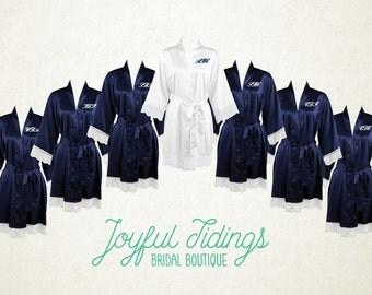 FREE ROBE Set of 7+ Navy Blue Lace Satin Robes, Bridesmaid's Gift, Lace Trim, Bridal Party Robes, Bridesmaid Robe, Wedding Robe, Bridal Robe