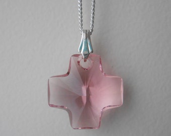 "Pink cross pendant crystal ""Swarovski"" and silver chain."