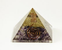 Large Orgone Amethyst Crystal pyramid Gemstone Orgonite with quartz crystal point wired with copper