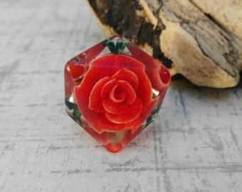 Red Rose Lucite Ring - Mother's Day Gift -  Reverse Carved Ring - Gift for Women - Adjustable Red Ring -  Ring UK Size P - Vintage Ring