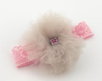 Baby Girl Pink Headband, Baby Girl Country Headband Gray Tulle Tutu Flower Vintage Rhinestone Bijou