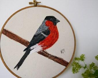 Embroidered Bullfinch in Hoop