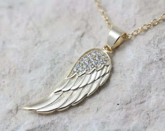 Gold wing necklace, Gold Angel Wing Necklace, Guardian gold angel wing with Cubic Zirconia stones, gold Wing necklace, gold wing