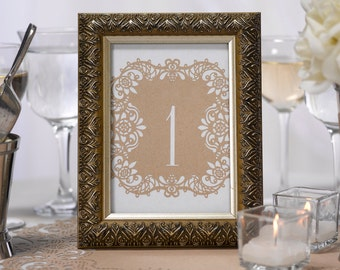 Table Numbers Kraft Laser Cut Wedding Reception Table Number Cards 1 To 10
