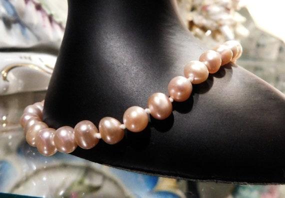 Genuine Pink Pearl Bracelet 14K JCM Jamel Hand Strung and Knotted Pink Strand Pearls Vintage Wedding Bride Bridal Spring Fine Jewelry Gold
