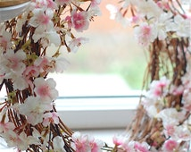 21 inch White Pink Cherry Blossoms on Dried Boxwood Twig Wreath. Nordic Spring. Life-Like Botanical Florist.